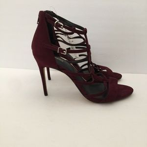 Express Shoes - Express Strappy Cage Heeled Sandals Burgundy